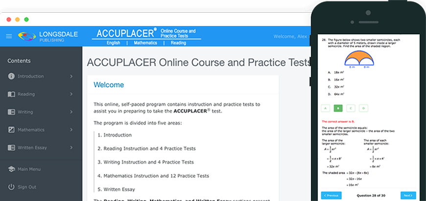 Main menu of ACCUPLACER test prep program and view on iPhone