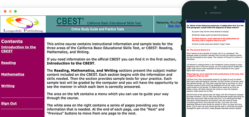 Main menu of CBEST test prep program and view on iPhone