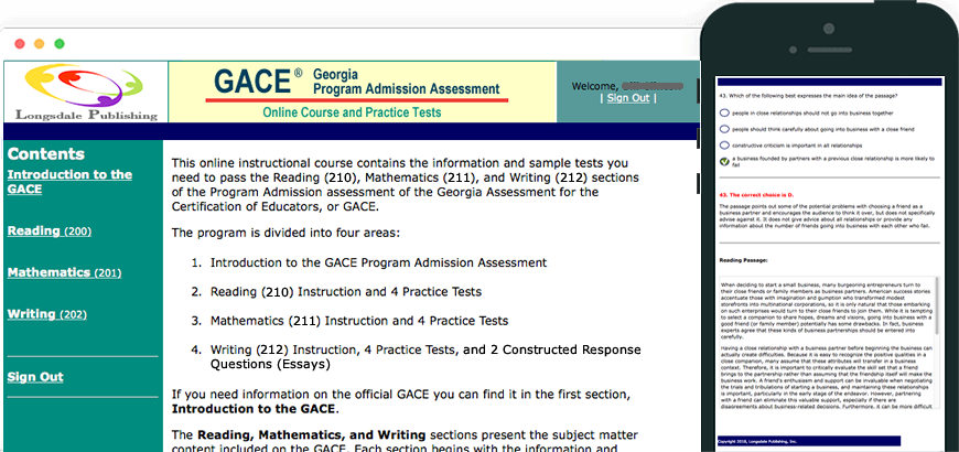 Main menu of GACE test prep program and view on iPhone