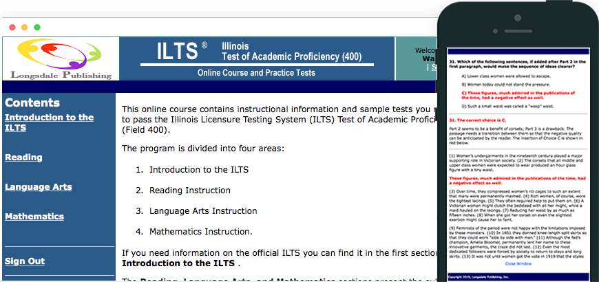 Main menu of ILTS TAP test prep program and view on iPhone