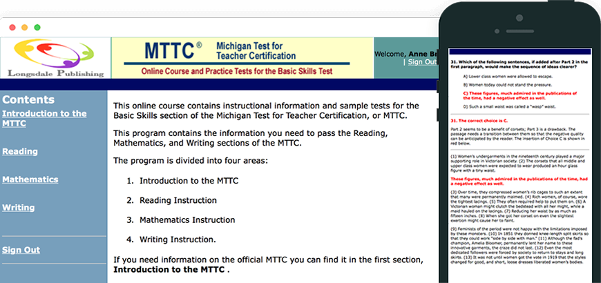 Main menu of MTTC test prep program and view on iPhone