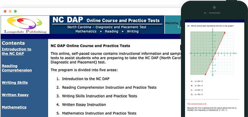 Main menu of NC DAP test prep program and view on iPhone