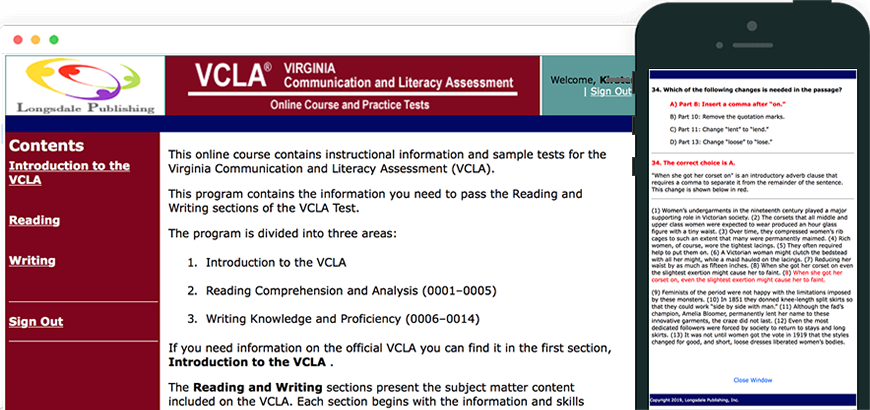 Main menu of VCLA test prep program and view on iPhone