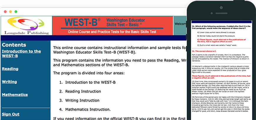 Main menu of WEST-B test prep program and view on iPhone